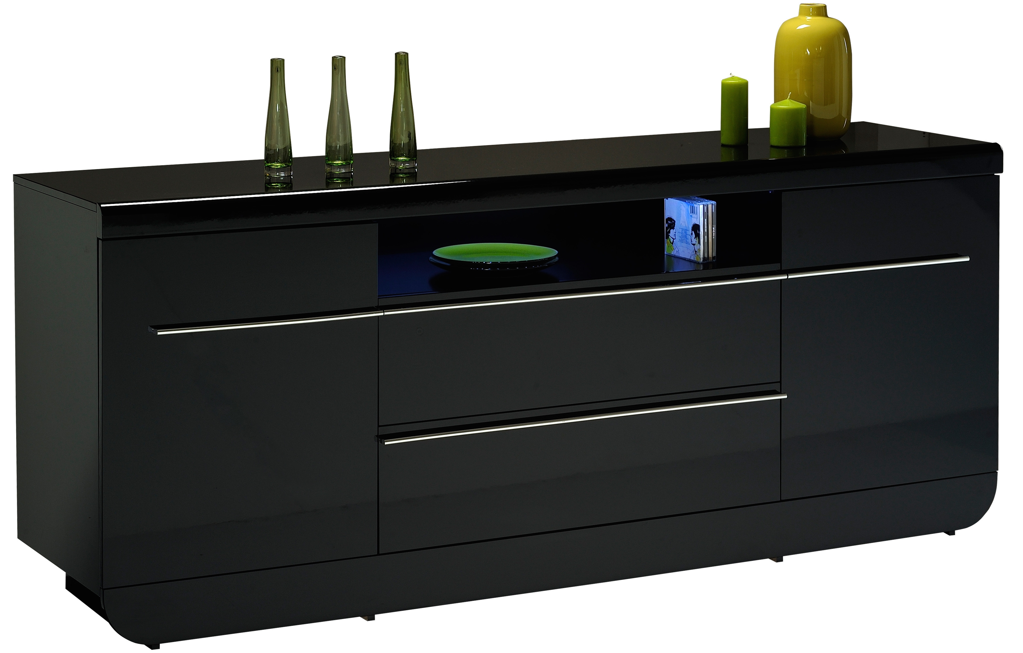 buffet laqu noir 2 portes 2 tiroirs koyd mod le sans led. Black Bedroom Furniture Sets. Home Design Ideas