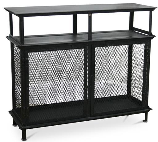 buffet metal noir vieilli loft. Black Bedroom Furniture Sets. Home Design Ideas