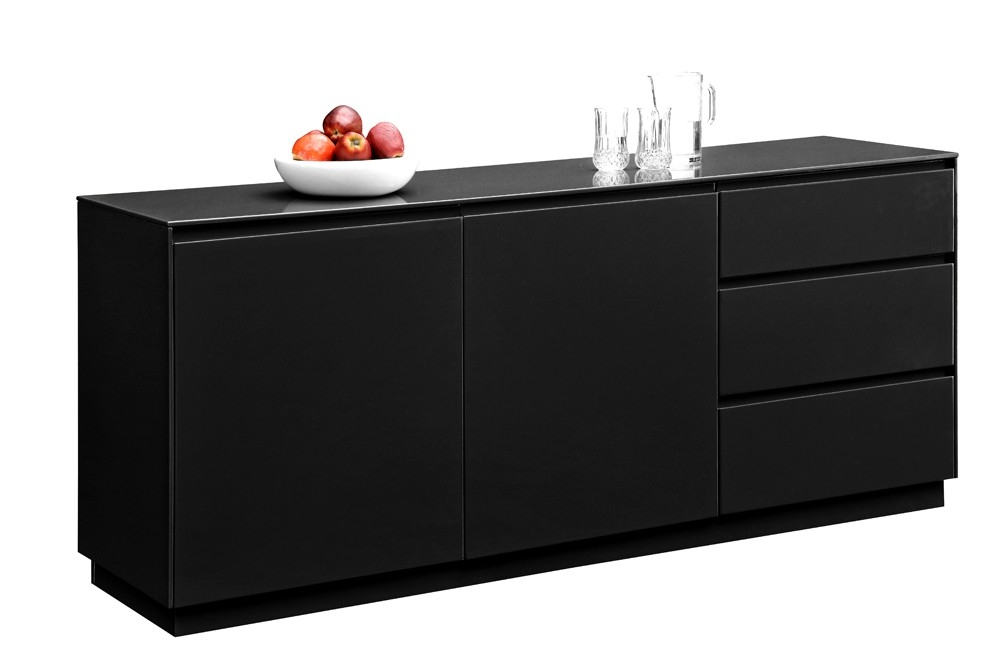 buffet laqu noir soho. Black Bedroom Furniture Sets. Home Design Ideas