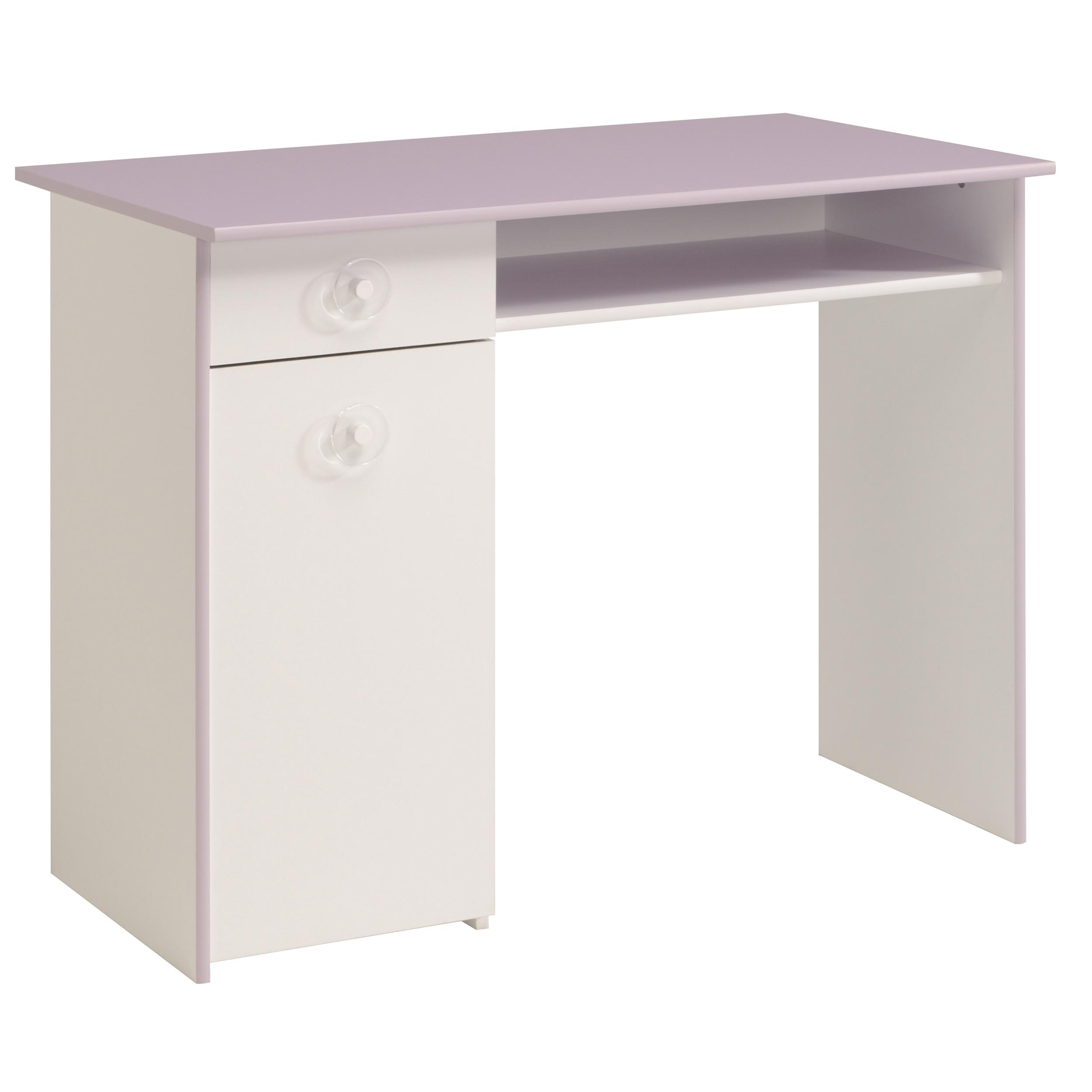 bureau 1 porte 1 tiroir blanc et lilas ombeline. Black Bedroom Furniture Sets. Home Design Ideas