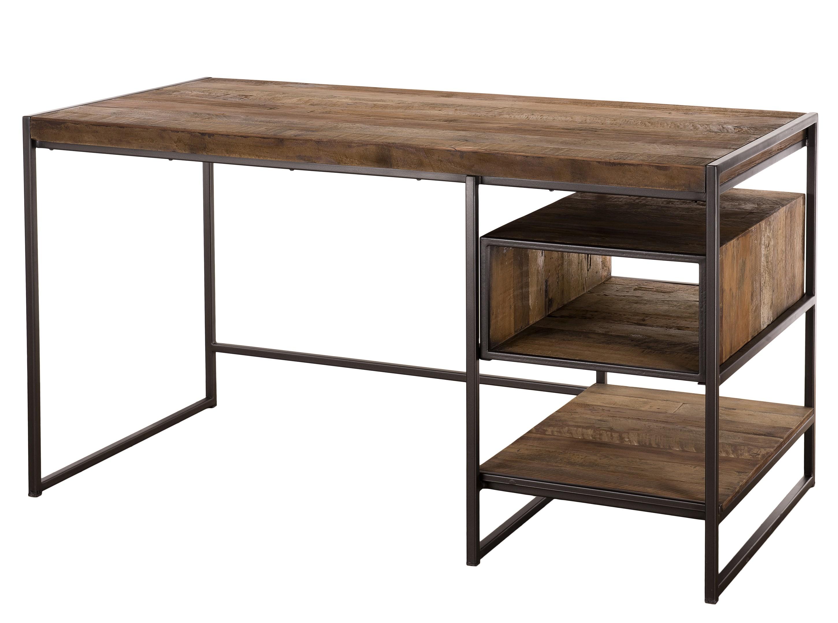 Bureau tiroir niche bois massif acacia et métal panka