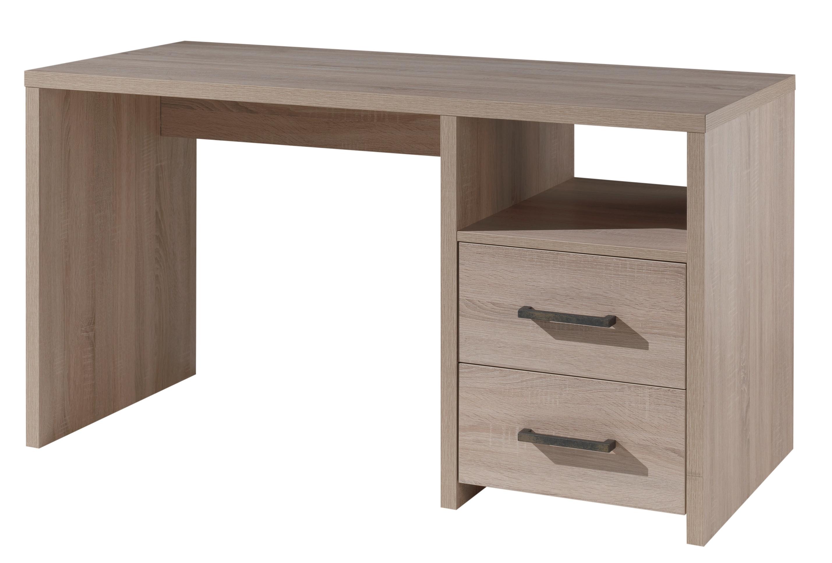 Bureau 2 tiroirs 1 niche bois chêne clair caline lestendances.fr
