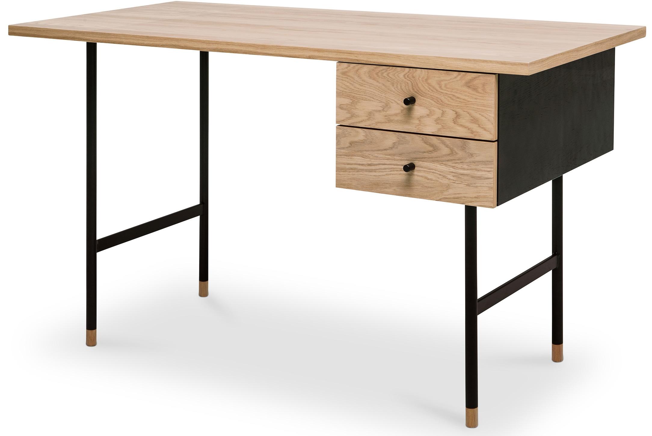 Bureau 2 tiroirs bois naturel et m tal noir scando - Bureau bois et noir ...