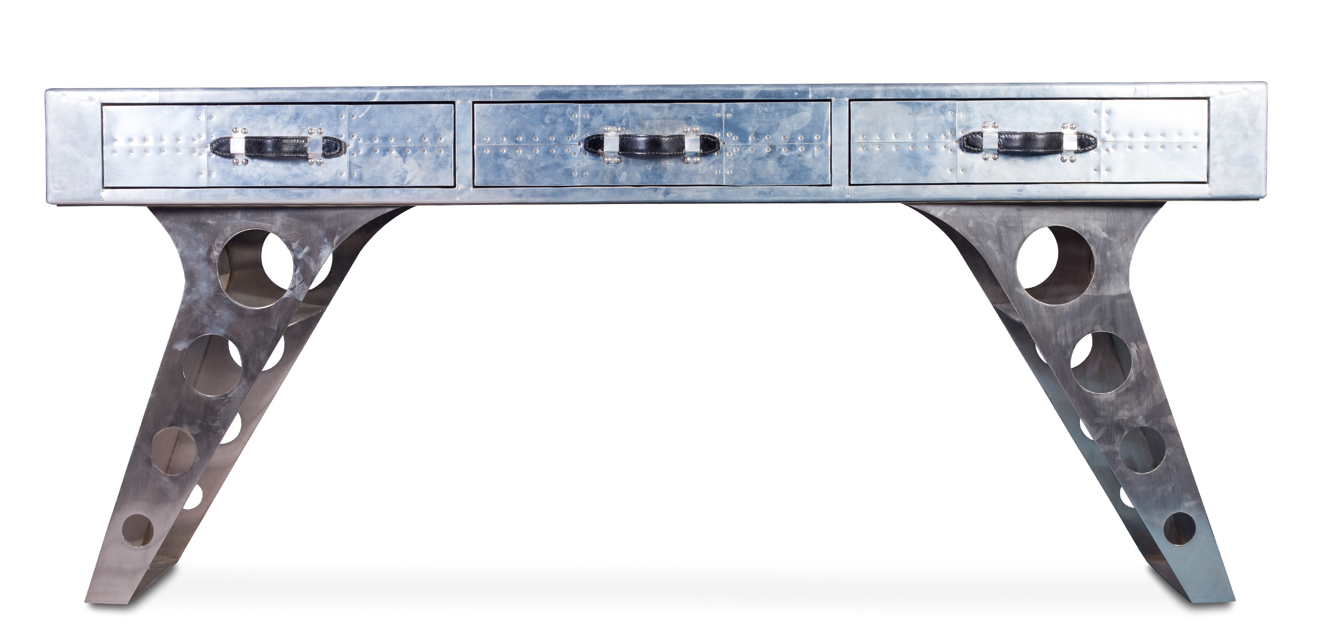 bureau aluminium 3 tiroirs aviator. Black Bedroom Furniture Sets. Home Design Ideas