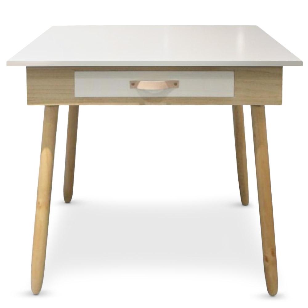 Bureau avec tiroir ch ne clair et blanc bjork for Produit bureau