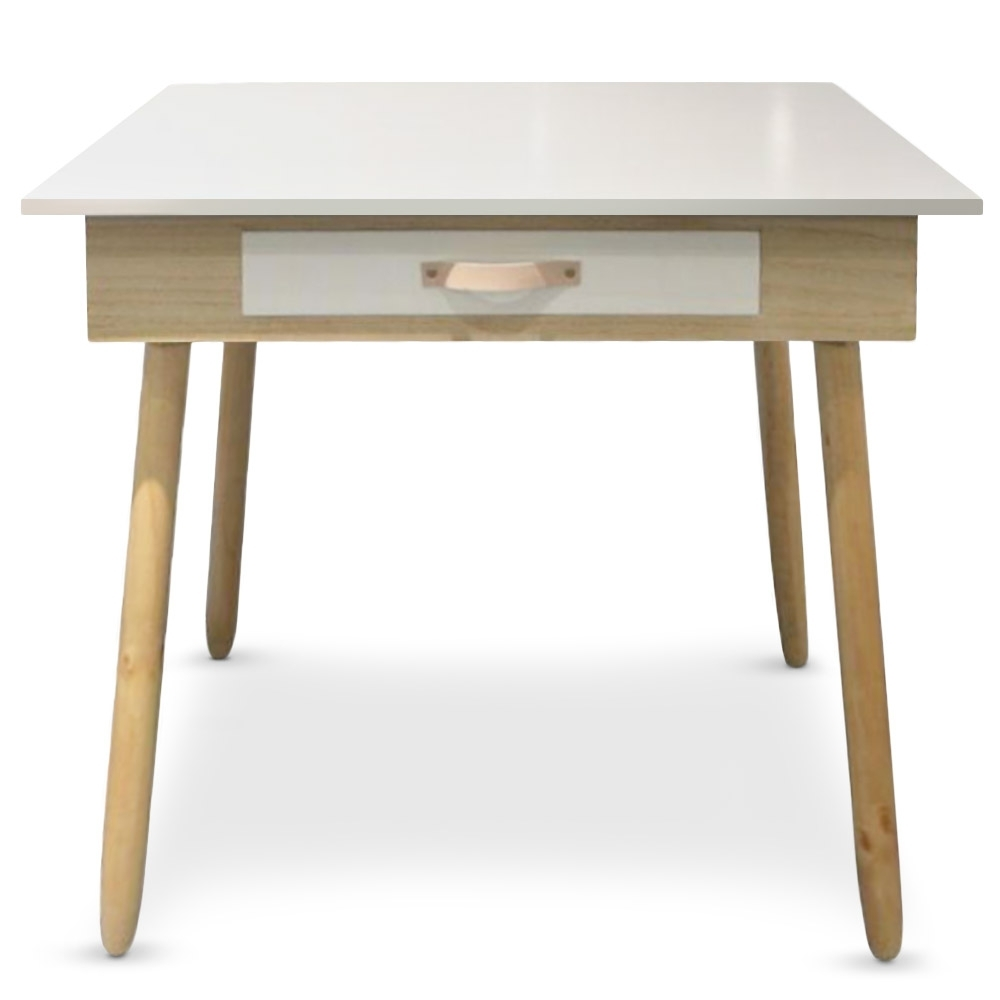 Bureau avec tiroir ch ne clair et blanc bjork for Meuble de bureau avec tiroir