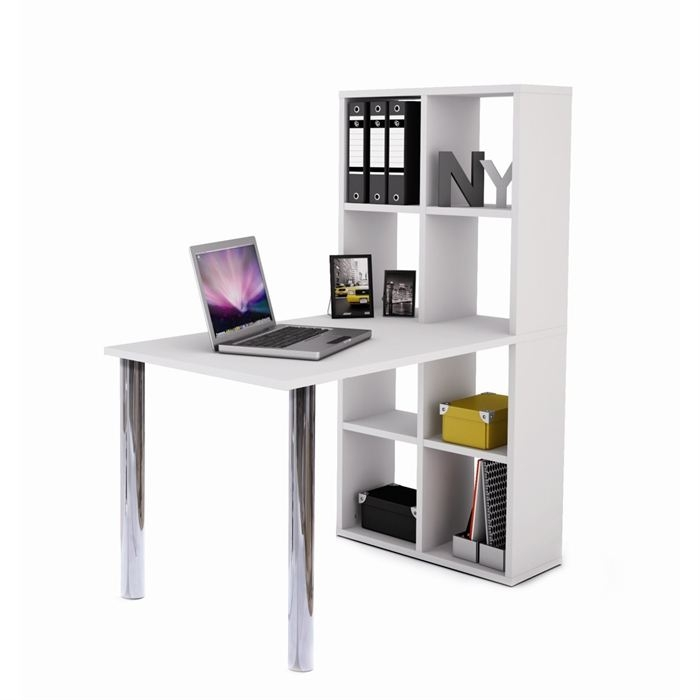 bureau blanc avec biblioth que lekyn. Black Bedroom Furniture Sets. Home Design Ideas