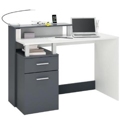 Bureau blanc et gris oracle - Bureau gris et blanc ...