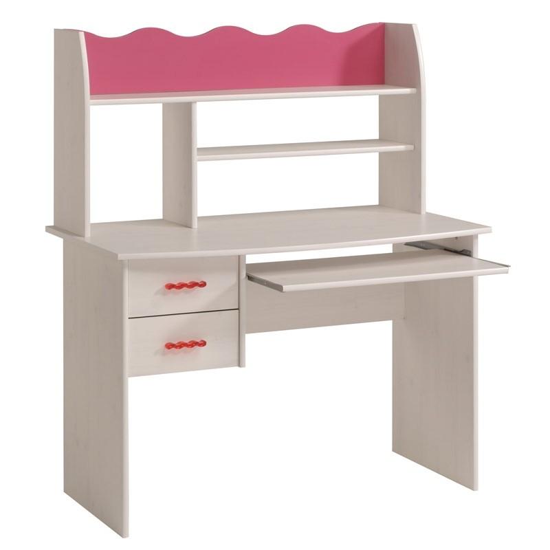 bureau blanc et rose lola. Black Bedroom Furniture Sets. Home Design Ideas