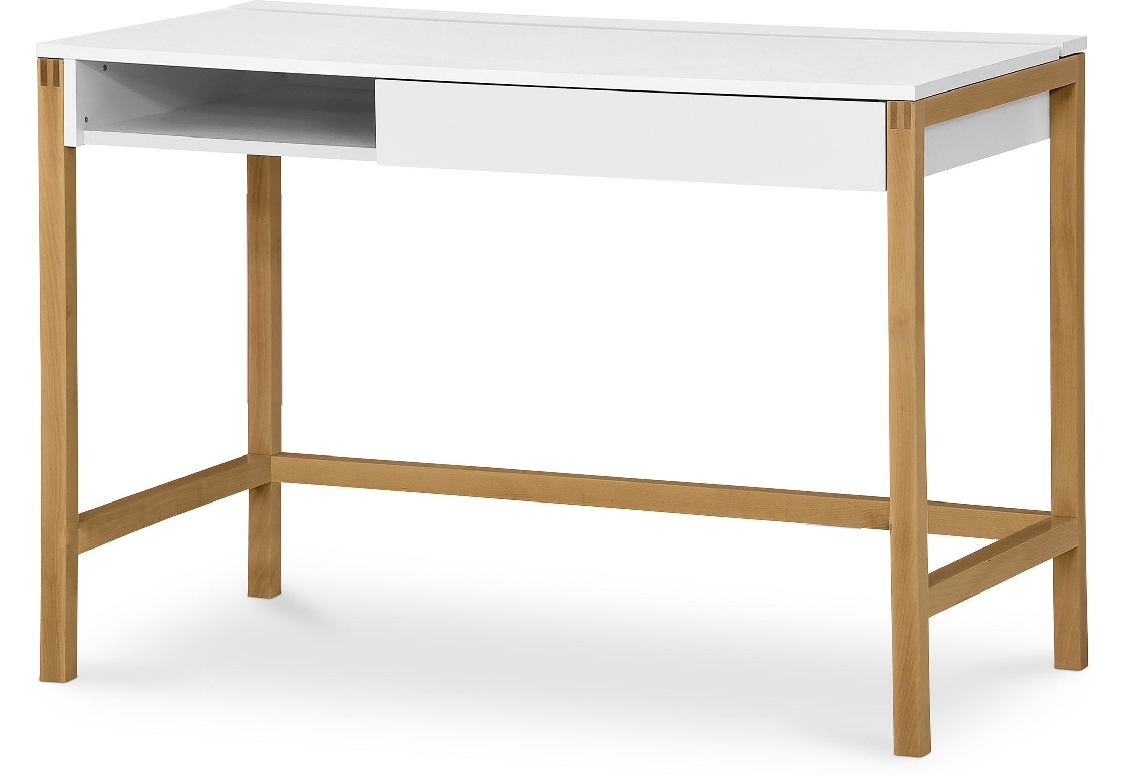 Bureau bois naturel et blanc scandino - Bureau bois et blanc ...