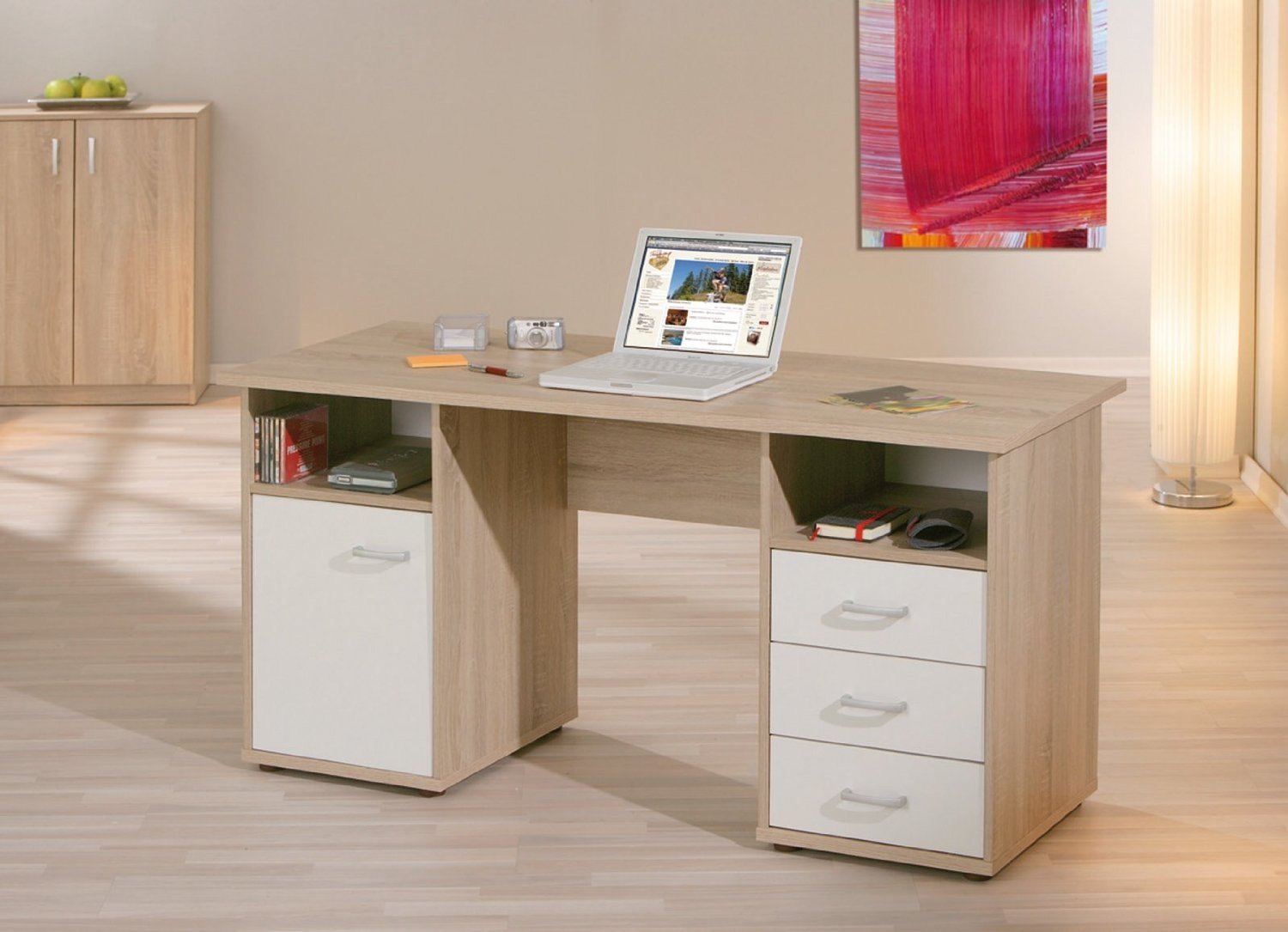 bureau ch ne et blanc callas. Black Bedroom Furniture Sets. Home Design Ideas