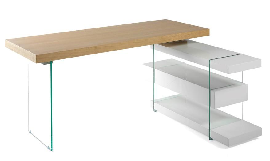 bureau d 39 angle bois plaqu ch ne et cot s verre tremp. Black Bedroom Furniture Sets. Home Design Ideas