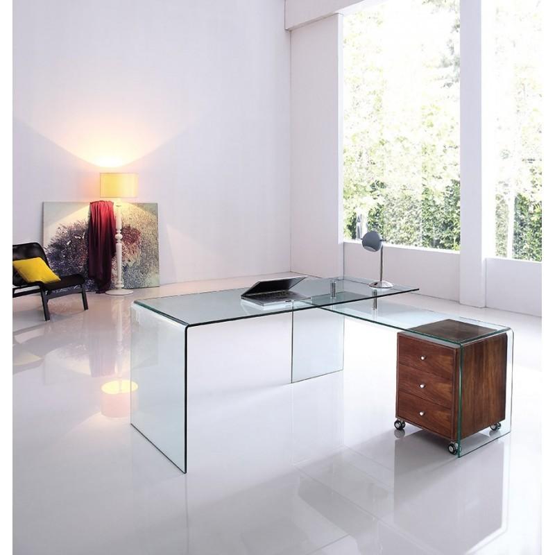 bureau d 39 angle verre tremp et bois noyer valock. Black Bedroom Furniture Sets. Home Design Ideas