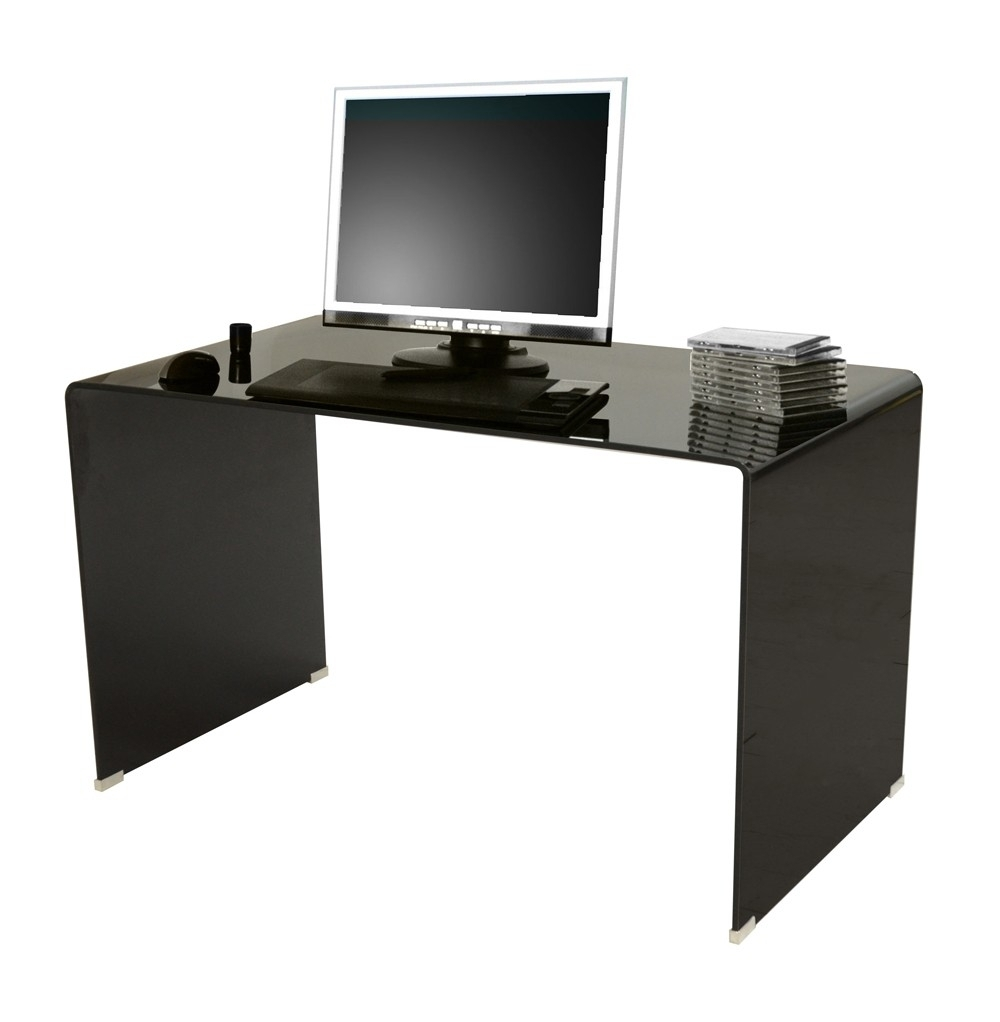 bureau droit en verre noir stella. Black Bedroom Furniture Sets. Home Design Ideas