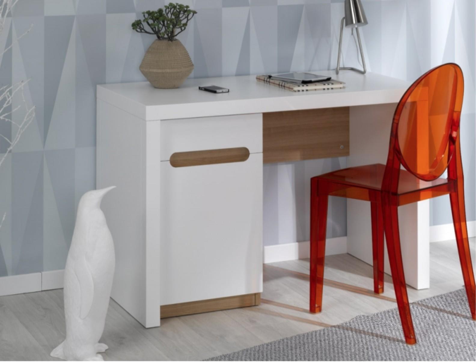 Bureau enfant blanc et bois clair avec caisson modulable nobus