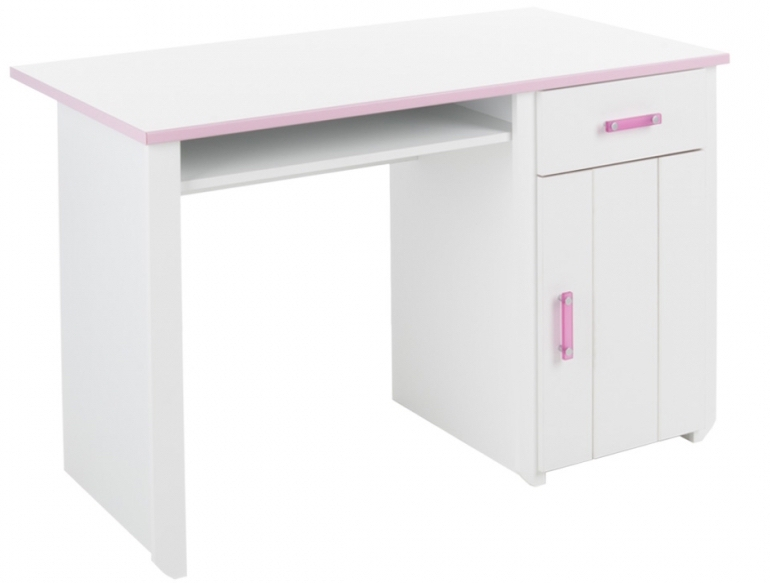 bureau enfant blanc et rose eglantine. Black Bedroom Furniture Sets. Home Design Ideas