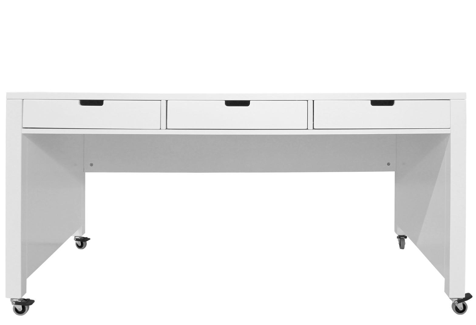 grand bureau enfant 3 tiroirs bois blanc mix & match | lestendances.fr