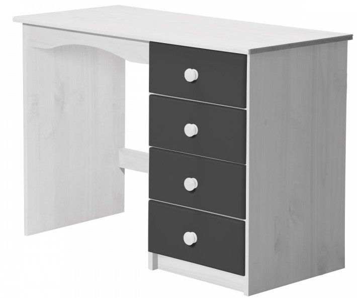 bureau enfant pin massif blanc et gris aladin. Black Bedroom Furniture Sets. Home Design Ideas