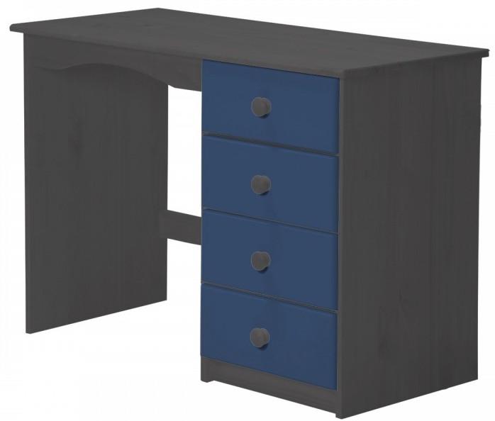 Bureau enfant pin massif gris et bleu aladin - Bureau enfant pin massif ...