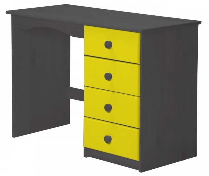 bureau enfant pin massif gris et jaune aladin. Black Bedroom Furniture Sets. Home Design Ideas