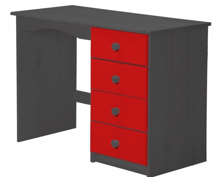 bureau enfant pin massif gris et rouge aladin. Black Bedroom Furniture Sets. Home Design Ideas