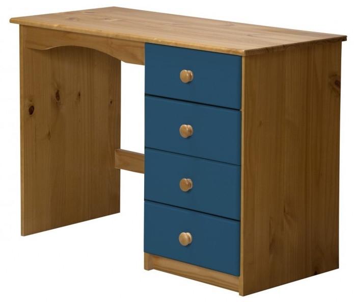 Bureau enfant pin massif miel et bleu aladin - Bureau enfant pin massif ...
