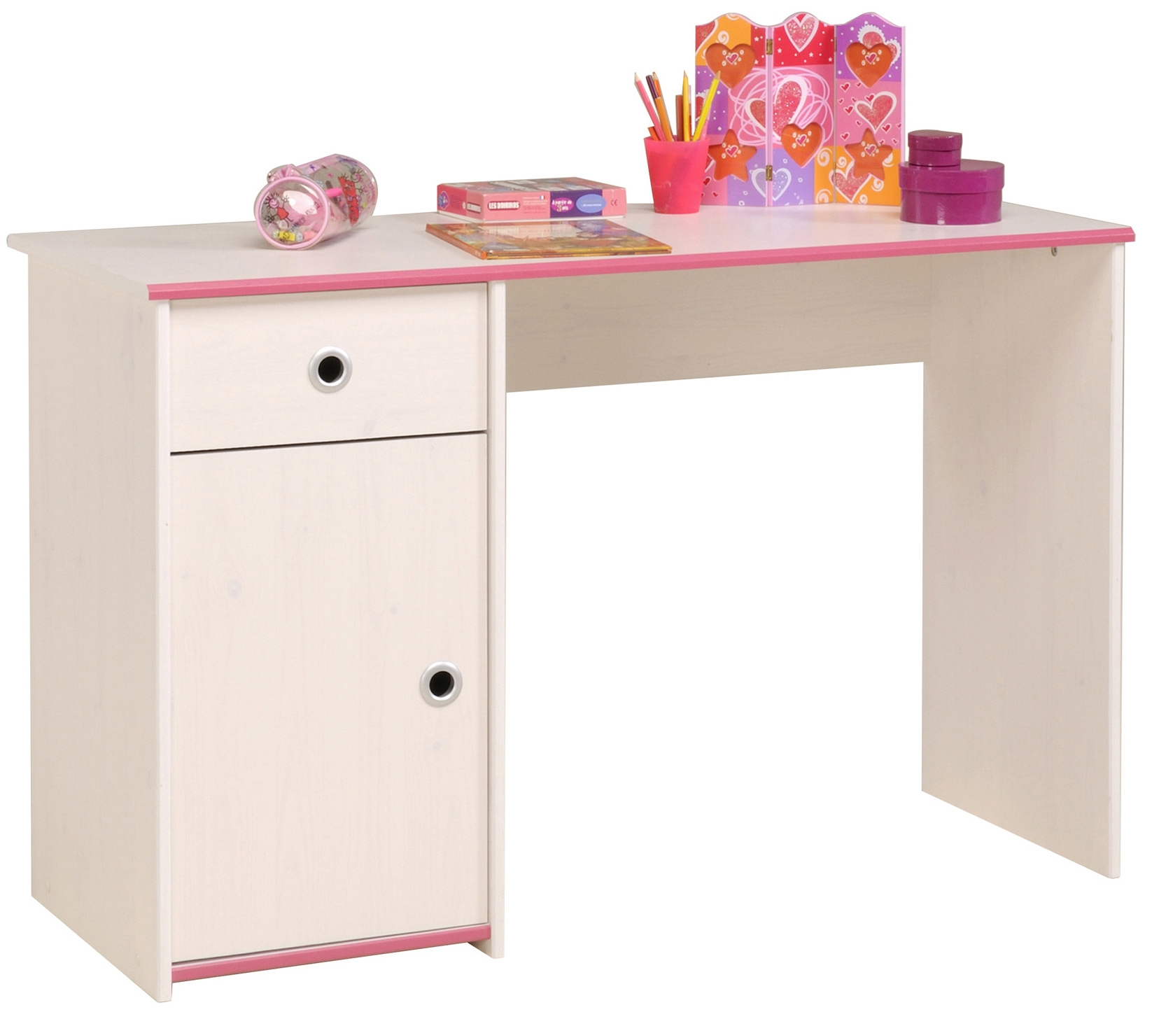 bureau enfant bois blanc et rose suzy. Black Bedroom Furniture Sets. Home Design Ideas
