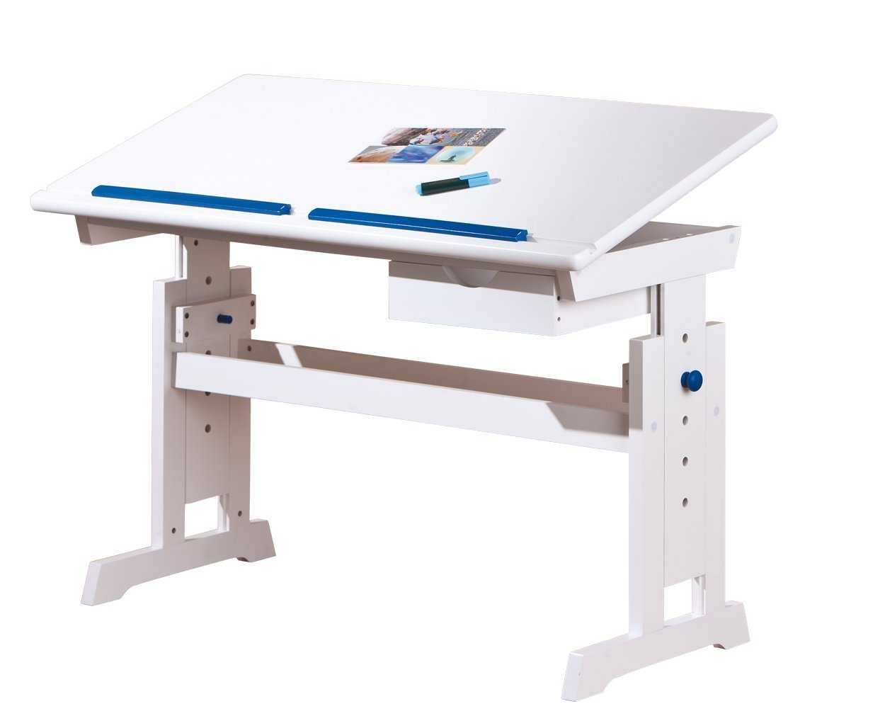 bureau inclinable bois massif blanc et bleu ou rose rubi. Black Bedroom Furniture Sets. Home Design Ideas
