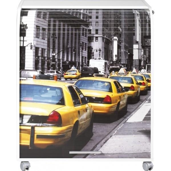 Bureau informatique à rideau blanc imprimé taxi jaune Must ...
