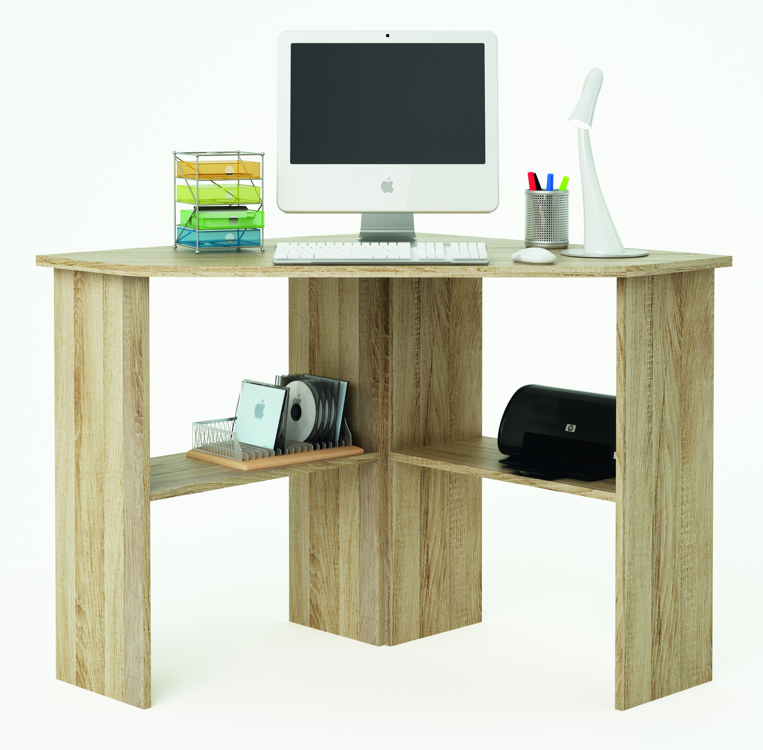 Bureau informatique d 39 angle acacia for Meuble informatique d angle