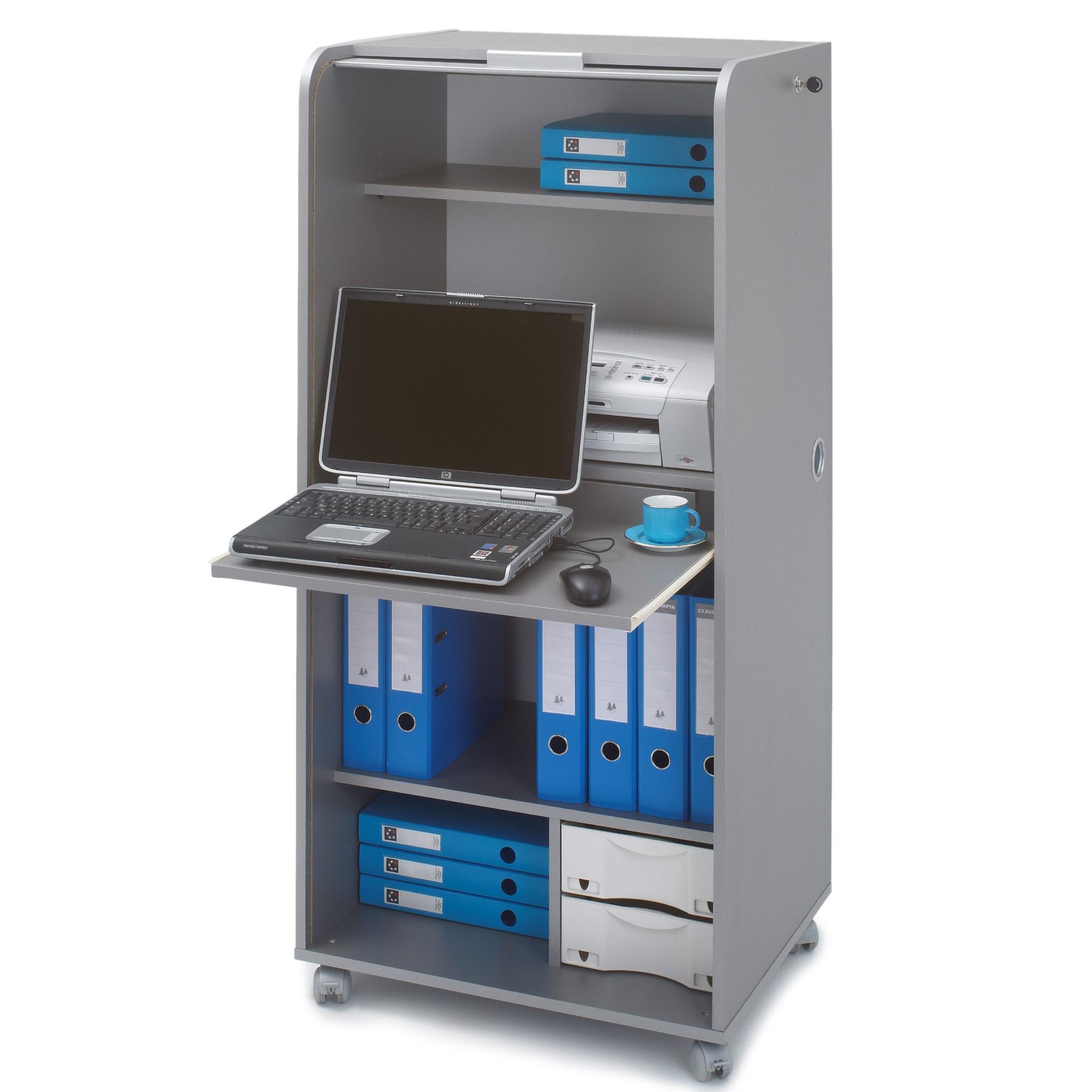 Bureau informatique gris alu rideau orga for Bureau informatique gris