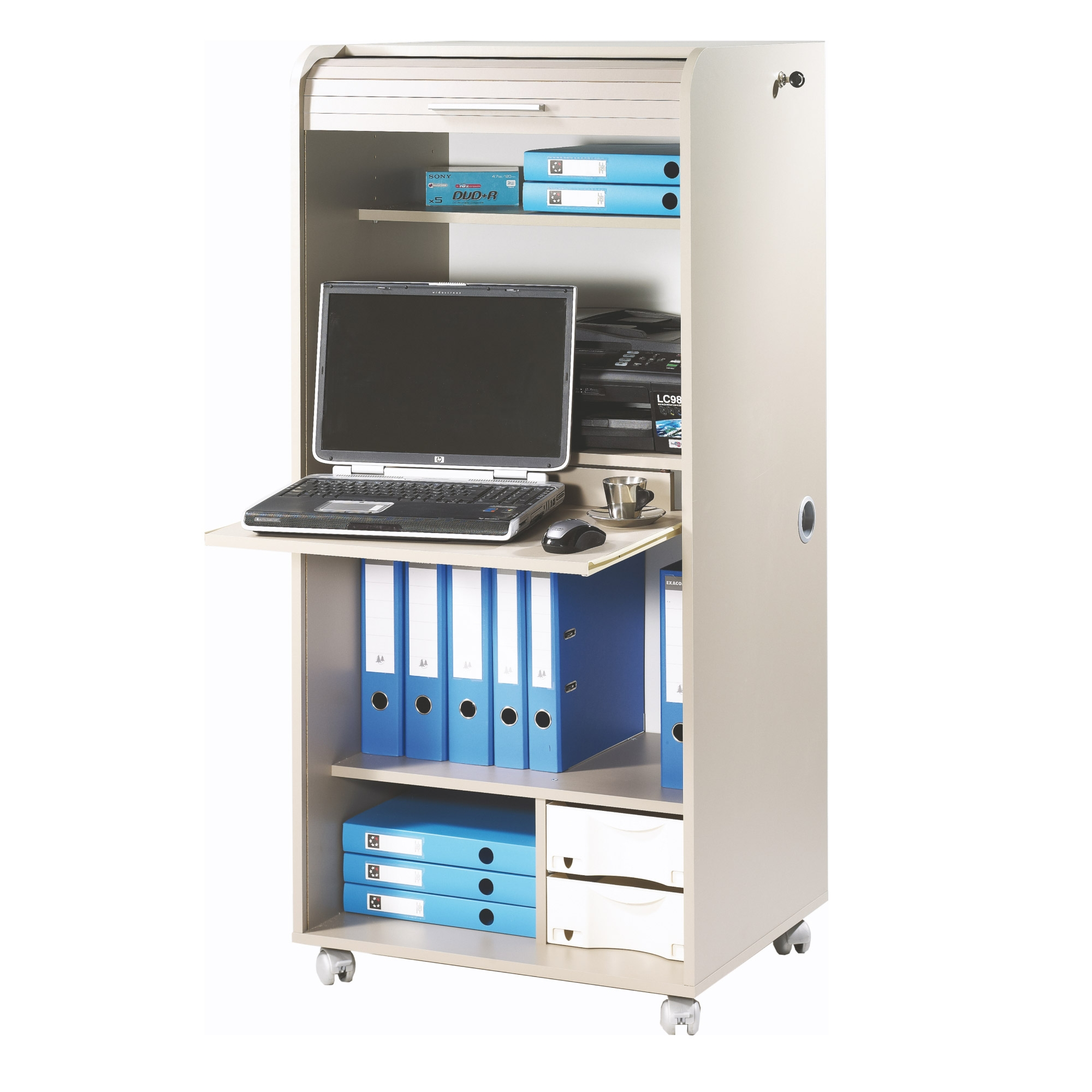 Bureau informatique taupe rideau orga for Bureau armoire informatique