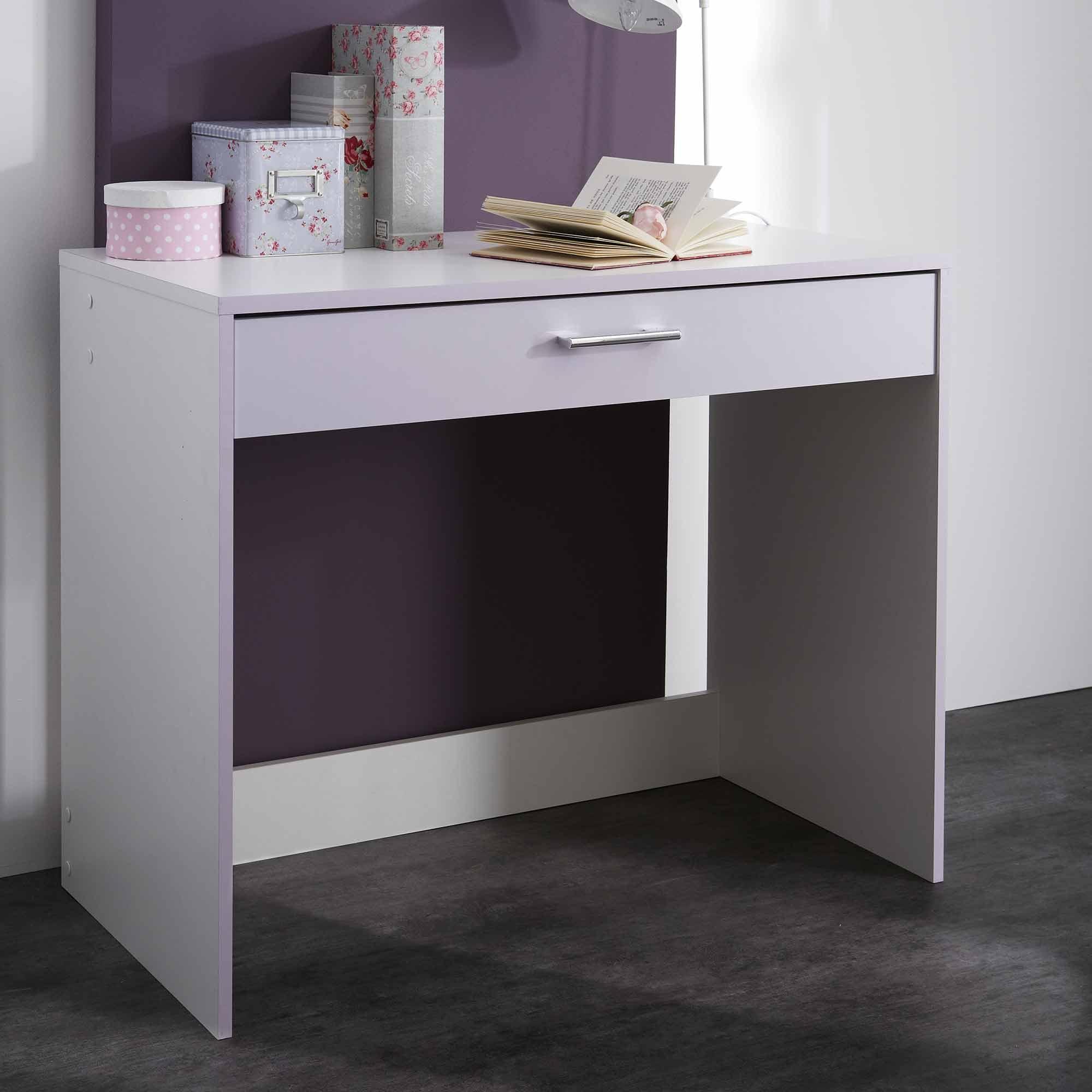 bureau fille blanc et parme mina. Black Bedroom Furniture Sets. Home Design Ideas