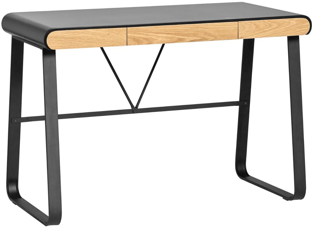Bureau moderne tiroirs bois clair et laqué noir aphy