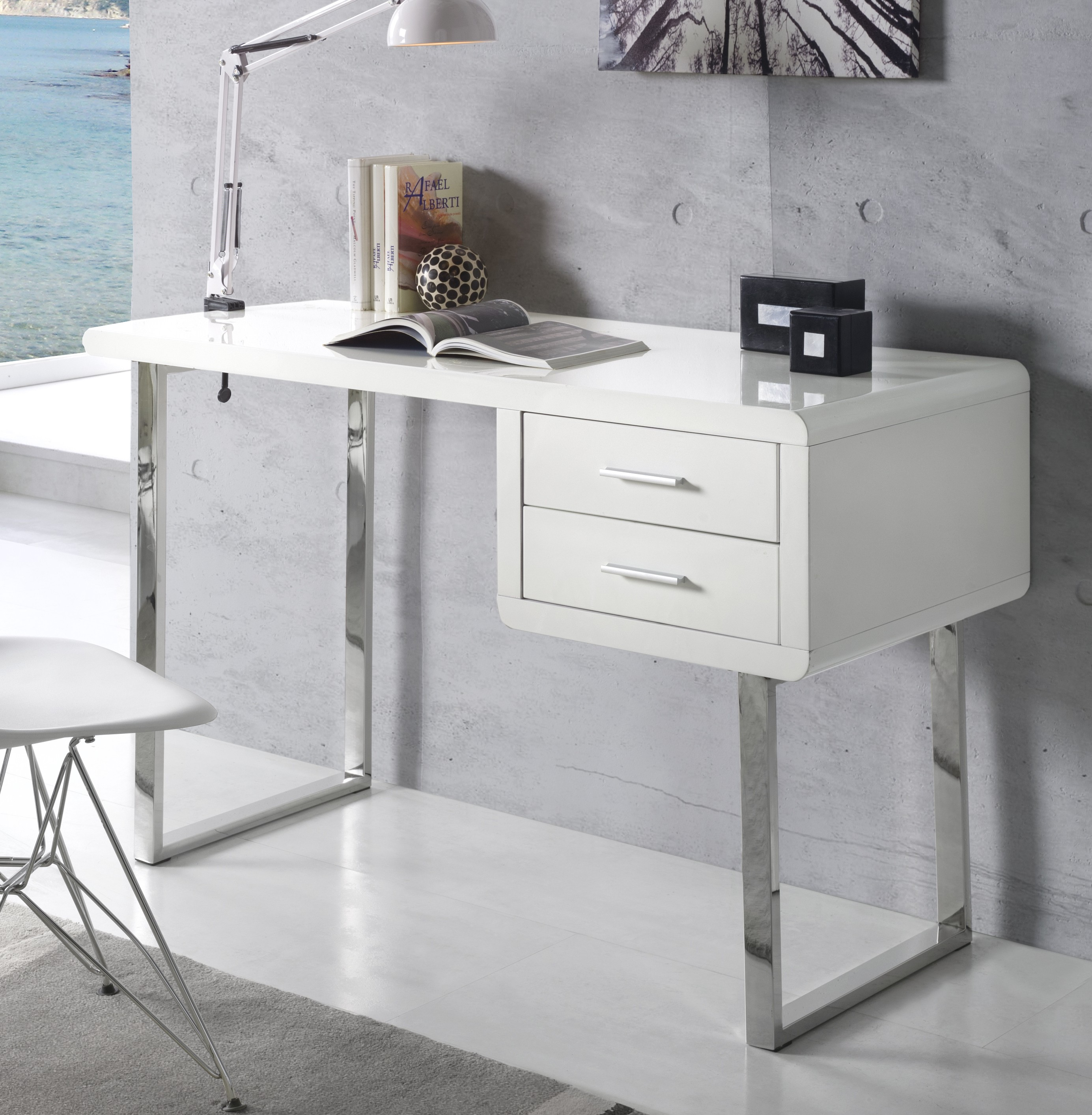 bureau moderne blanc brillant obade. Black Bedroom Furniture Sets. Home Design Ideas