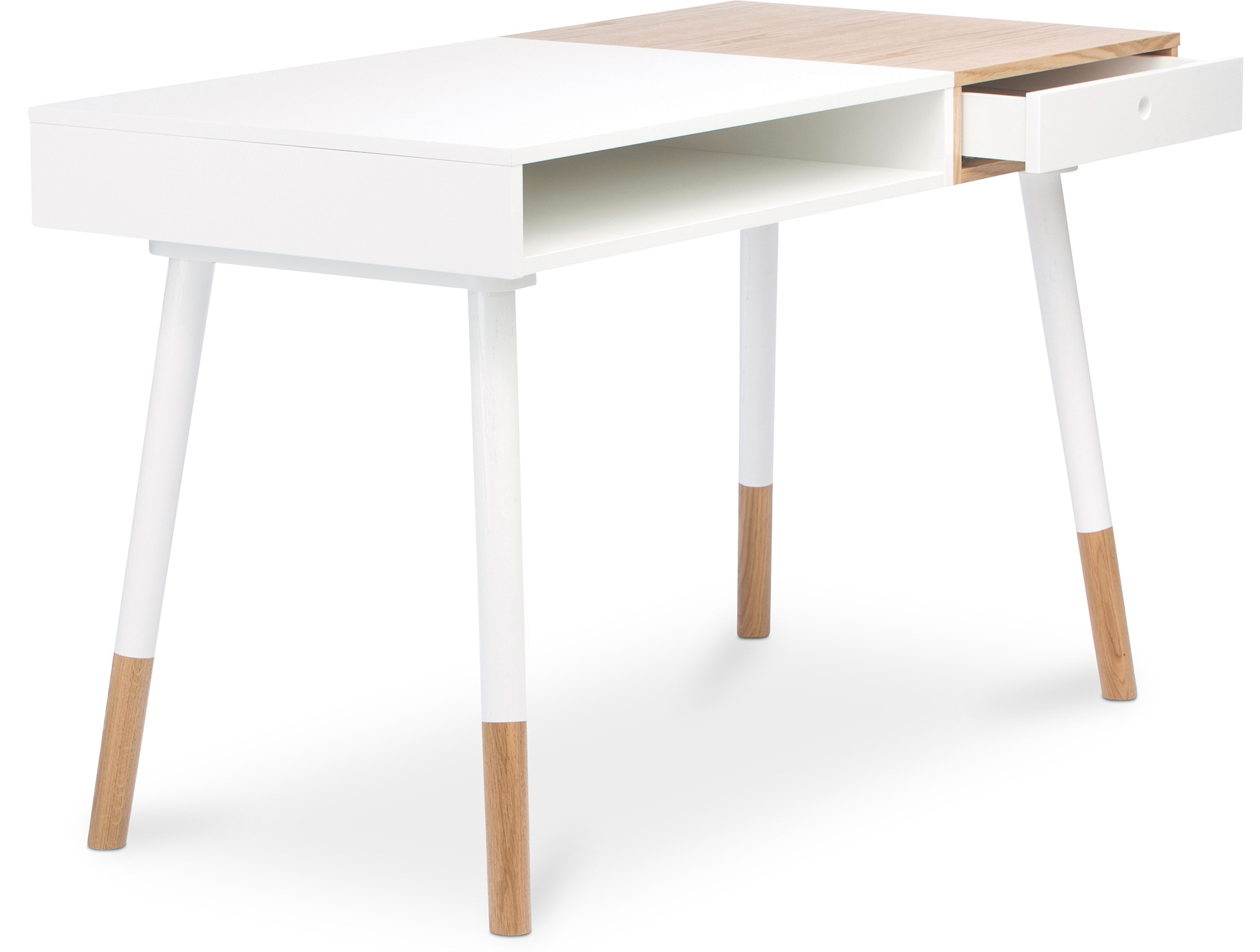 Bureau moderne bois naturel et blanc scandi for Bureau meuble moderne