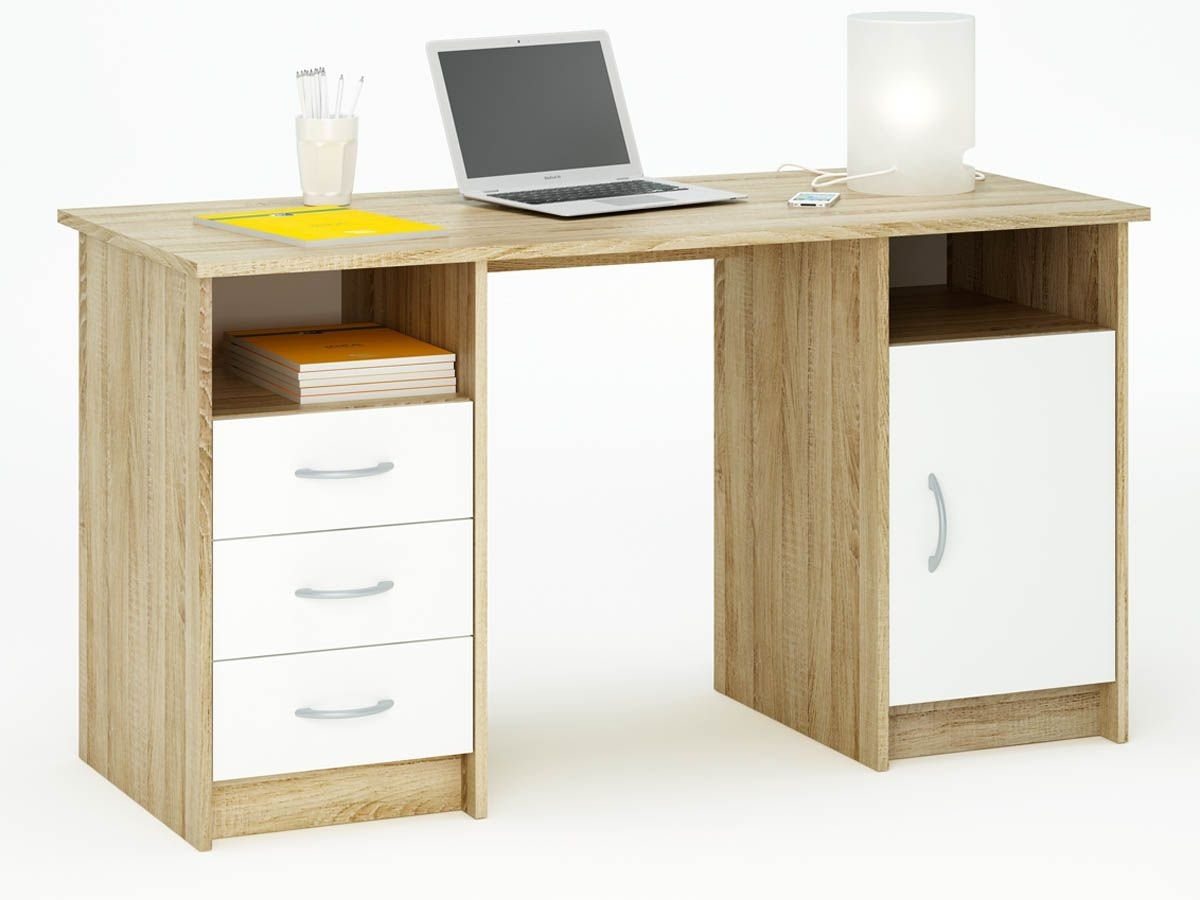bureau 2 caissons ch ne et blanc mont vina. Black Bedroom Furniture Sets. Home Design Ideas