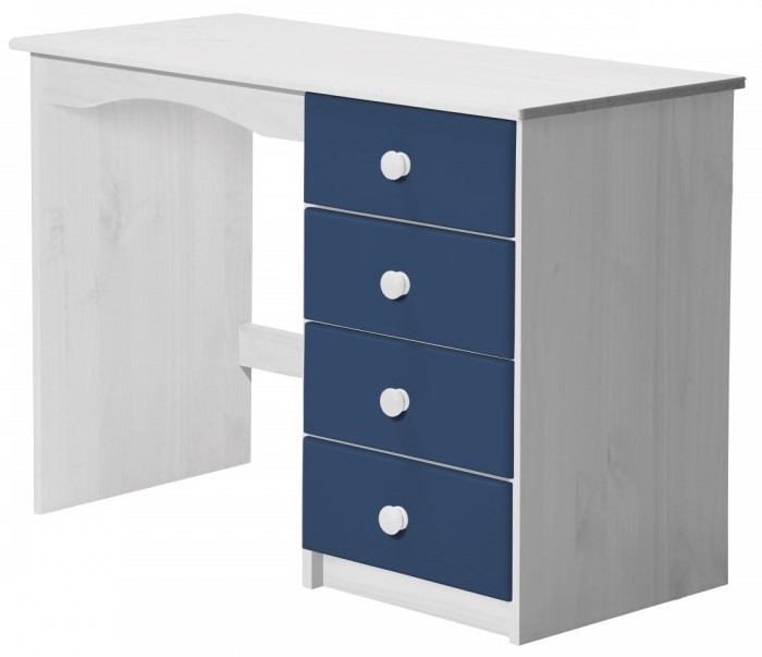 bureau pin massif blanc et bleu aladin. Black Bedroom Furniture Sets. Home Design Ideas