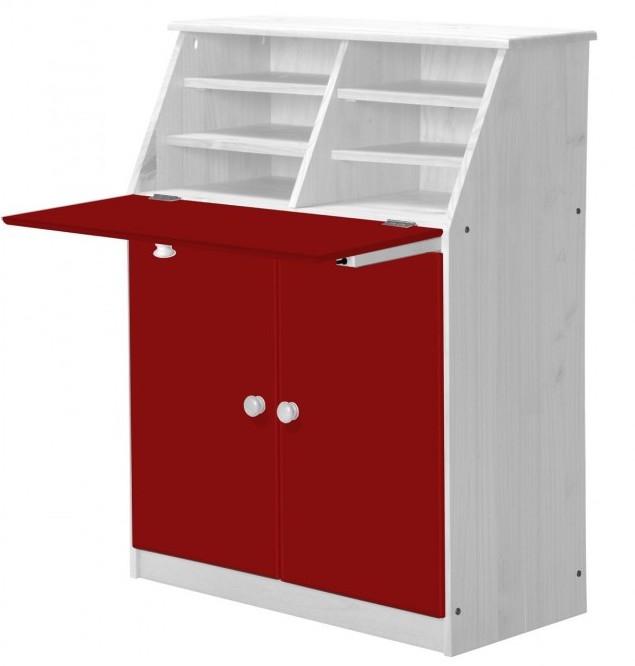 bureau pin massif blanc et rouge hobby. Black Bedroom Furniture Sets. Home Design Ideas