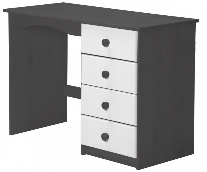 bureau pin massif gris et blanc aladin. Black Bedroom Furniture Sets. Home Design Ideas