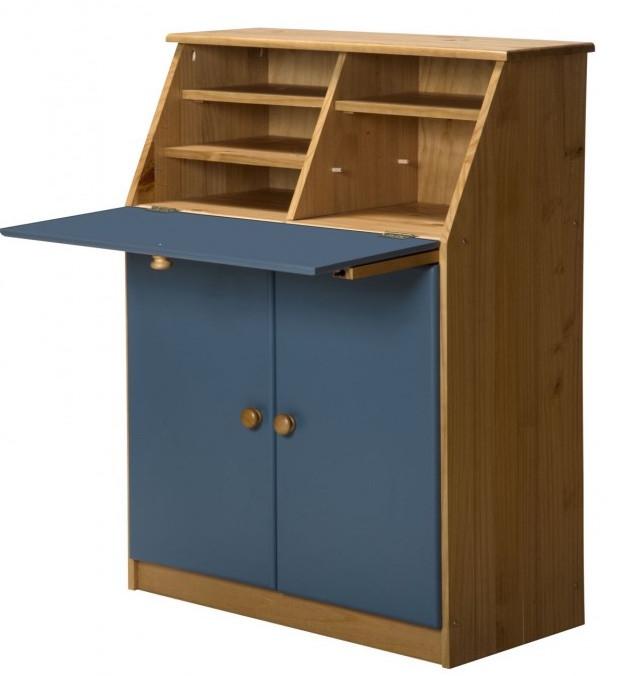 bureau pin massif miel et bleu hobby. Black Bedroom Furniture Sets. Home Design Ideas