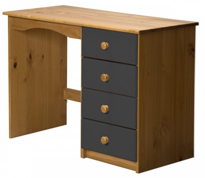 bureau pin massif naturel et gris aladin. Black Bedroom Furniture Sets. Home Design Ideas