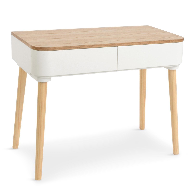 Bureau droit bois clair et blanc skondu - Bureau bois et blanc ...