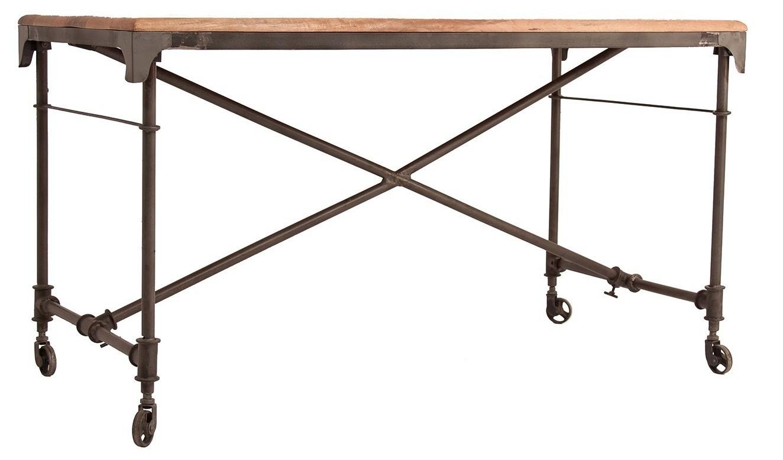 Bureau style industriel manguier massif foncé vieilli et métal
