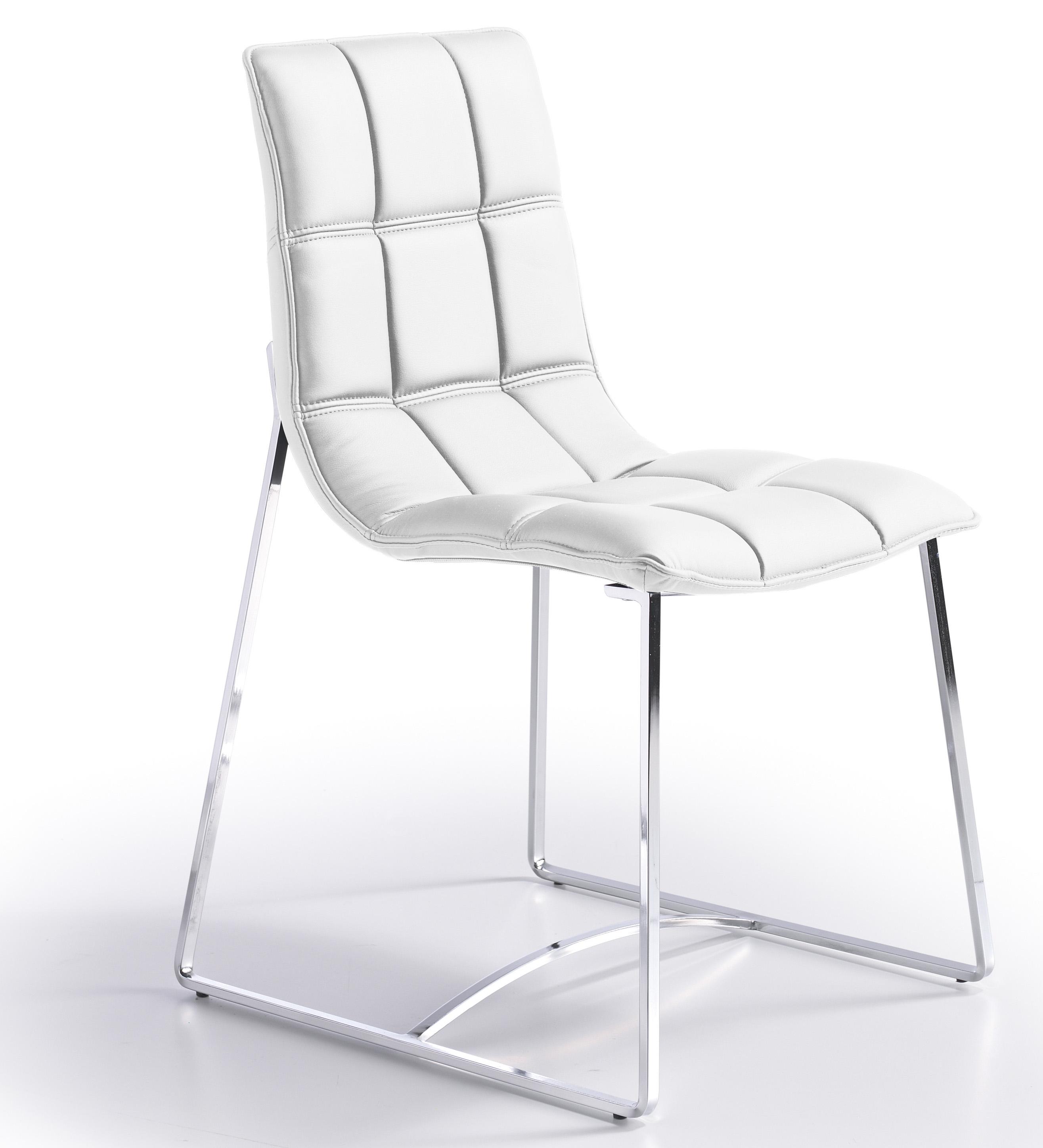 Chaise Design Matelasse Simili Blanc Koza