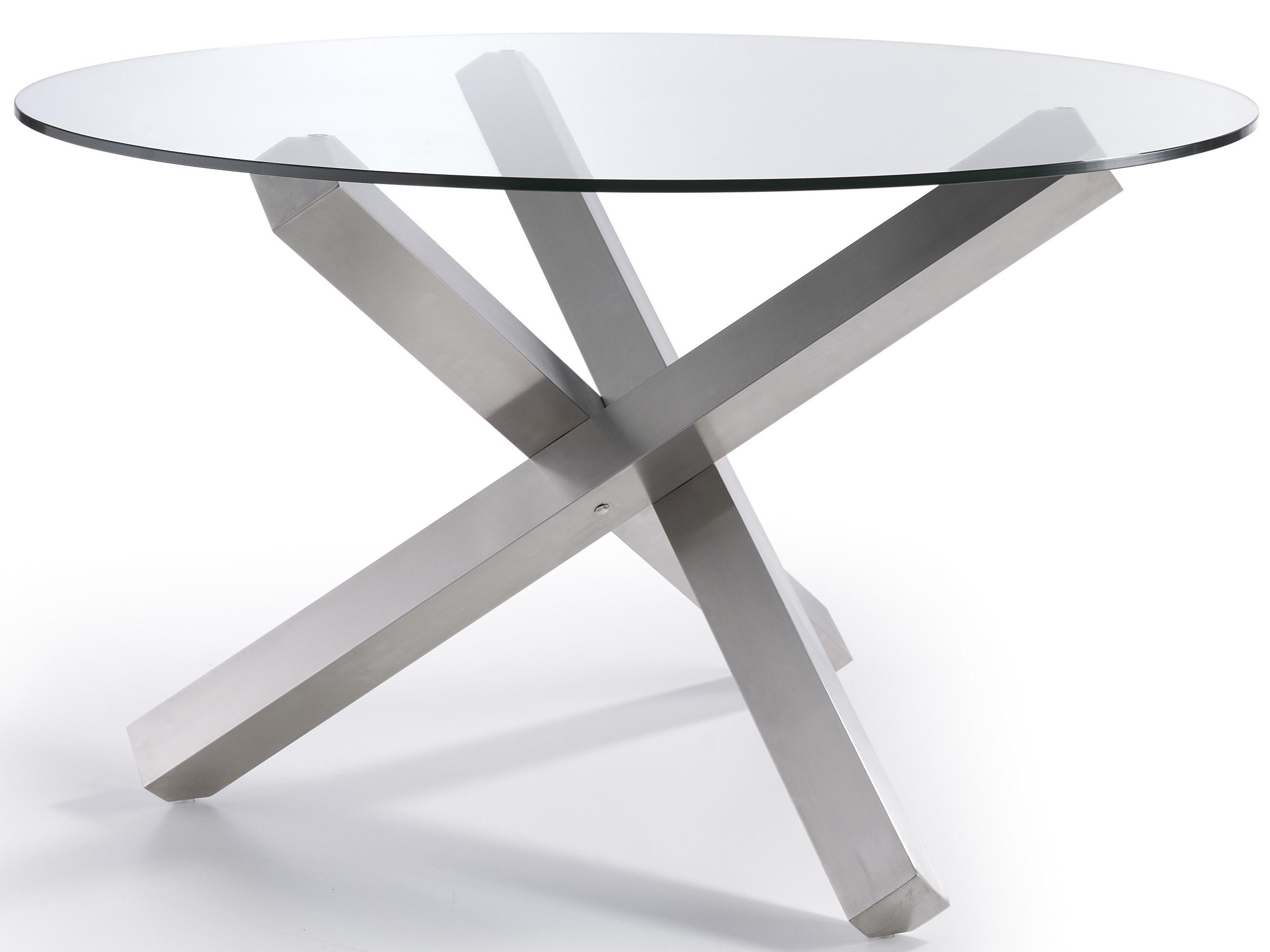 table ronde acier inoxydable poli et verre tremp croiza dimensions d 110 x h 76 cm. Black Bedroom Furniture Sets. Home Design Ideas