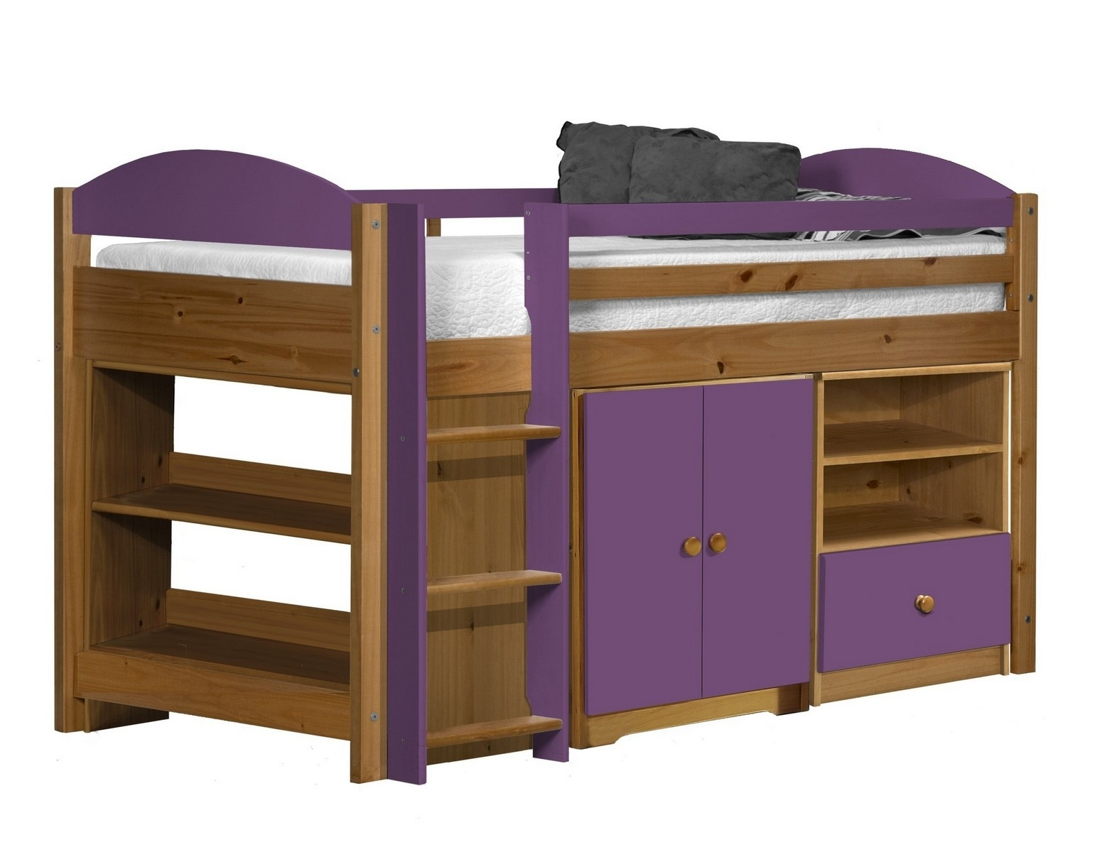 lit combin mi haut bois et lilas aladin. Black Bedroom Furniture Sets. Home Design Ideas