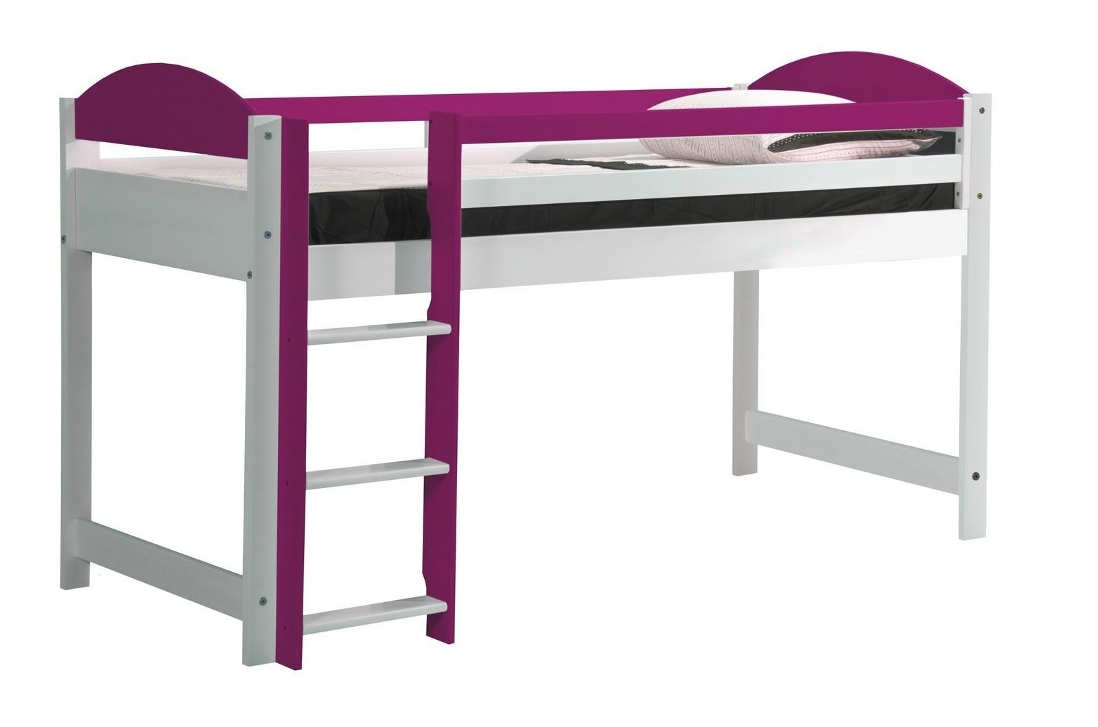 lit mezzanine mi haut bois blanc et fuchsia aladin. Black Bedroom Furniture Sets. Home Design Ideas