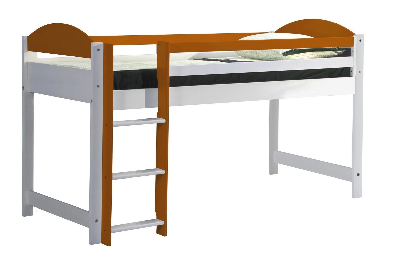 Lit mezzanine mi haut bois blanc et orange aladin - Lit mezzanine bois blanc ...