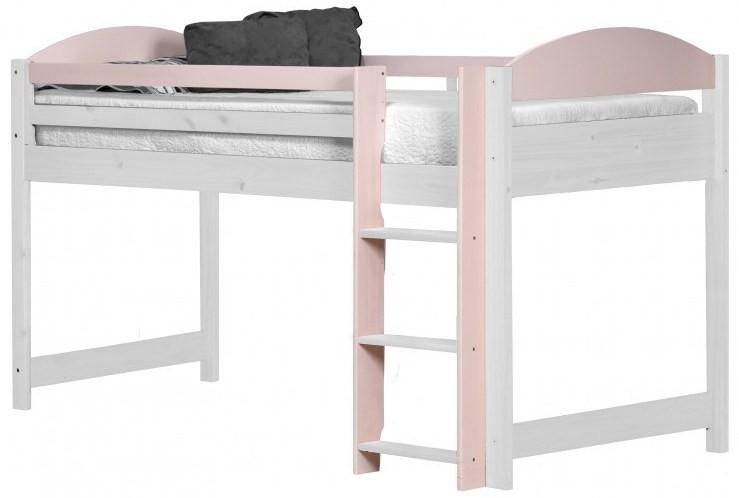 lit mezzanine mi haut pin massif blanc et rose aladin. Black Bedroom Furniture Sets. Home Design Ideas